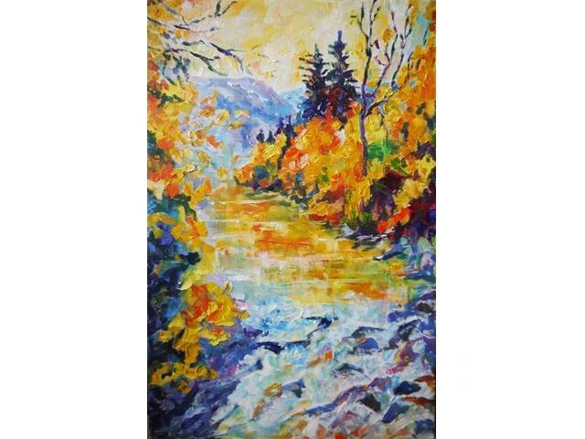 Осенняя река в горах. Картина интерьерная - 1/4