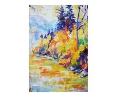 Осенняя река в горах. Картина интерьерная