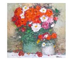 Продається натюрморт художниці Тетяни Русакової 'Червоні квіти в двох вазонах'